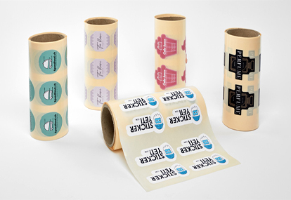 Roll of self-adhesive labels on white opaque vinyl